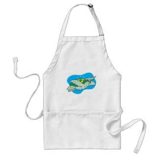tortuga de mar feliz de la natación delantales