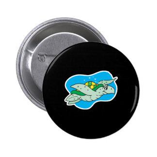 tortuga de mar feliz de la natación pin redondo 5 cm