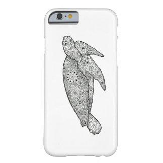Tortuga de mar floral artsy ilustrada mano funda para iPhone 6 barely there