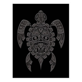 Tortuga de mar gris del alcohol del Haida en negro Tarjetas Postales