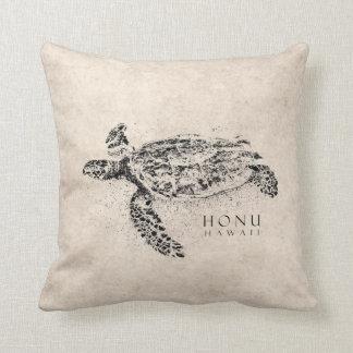 Tortuga de mar hawaiana de Honu en el pergamino Cojín