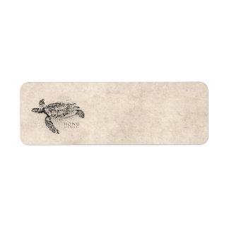 Tortuga de mar hawaiana de Honu en el pergamino de Etiquetas De Remite