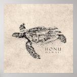 Tortuga de mar hawaiana de Honu en el pergamino de Posters