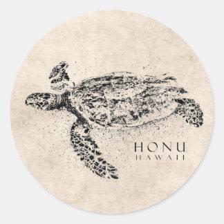 Tortuga de mar hawaiana de Honu en el pergamino de Etiquetas