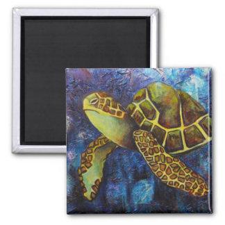 Tortuga de mar, imanes del arte de la textura imán cuadrado