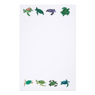 Tortuga de mar inmóvil papelería de diseño