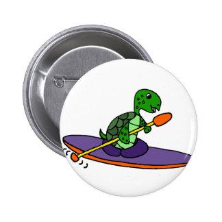 Tortuga de mar Kayaking divertida Pin Redondo De 2 Pulgadas