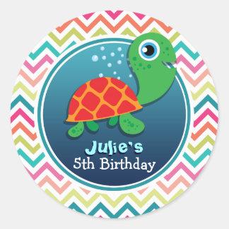 Tortuga de mar linda El cumpleaños del niño Etiquetas