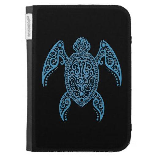 Tortuga de mar negra y azul compleja