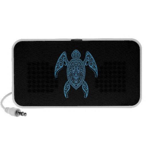 Tortuga de mar negra y azul compleja iPod altavoces