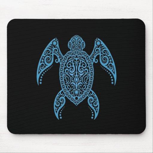 Tortuga de mar negra y azul compleja alfombrilla de ratón