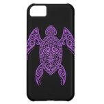 Tortuga de mar negra y púrpura compleja