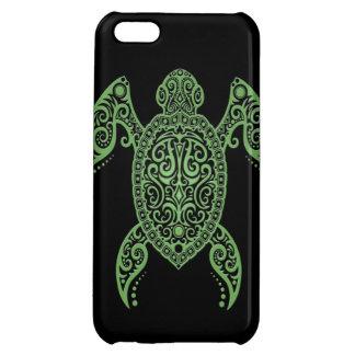 Tortuga de mar negro y verde compleja