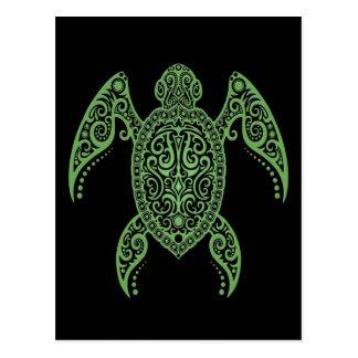 Tortuga de mar negro y verde compleja tarjetas postales
