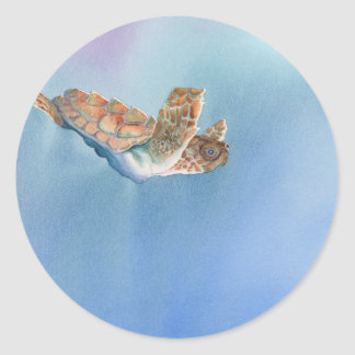 tortuga de mar etiquetas redondas