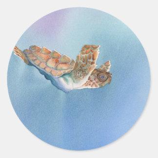 tortuga de mar pegatinas redondas