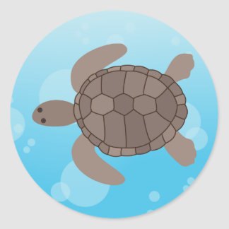 Tortuga de mar pegatina redonda