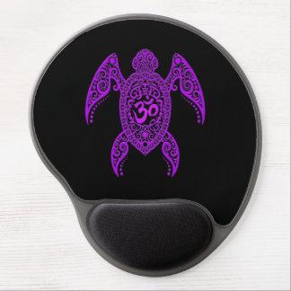 Tortuga de mar púrpura de OM en negro Alfombrilla De Ratón Con Gel