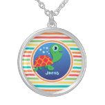 Tortuga de mar; Rayas brillantes del arco iris Collares Personalizados