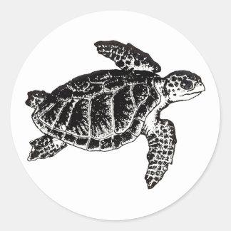 Tortuga de mar (Ridley de Kemp) Pegatina Redonda