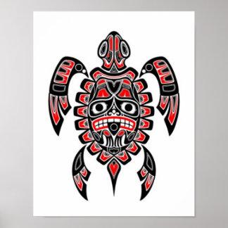 Tortuga de mar roja y negra del alcohol del Haida Posters