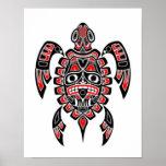 Tortuga de mar roja y negra del alcohol del Haida Póster