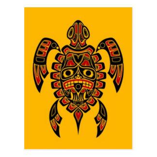 Tortuga de mar roja y negra del alcohol del Haida Tarjeta Postal