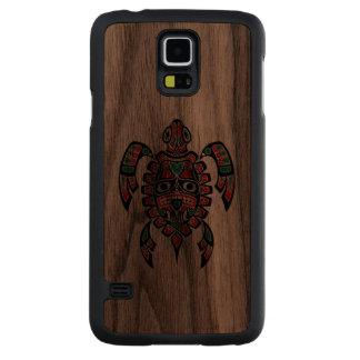Tortuga de mar roja y verde del alcohol del Haida Funda De Galaxy S5 Slim Nogal