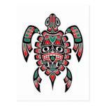 Tortuga de mar roja y verde del alcohol del Haida Tarjeta Postal