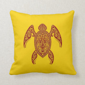 Tortuga de Mar Rojo compleja en amarillo Cojin