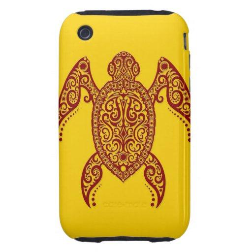 Tortuga de Mar Rojo compleja en amarillo iPhone 3 Tough Protectores