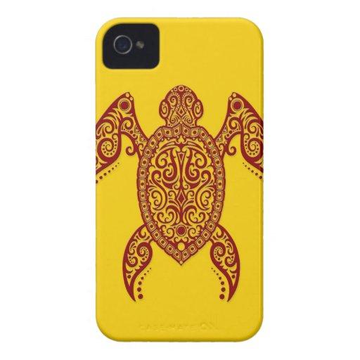 Tortuga de Mar Rojo compleja en amarillo iPhone 4 Case-Mate Cobertura