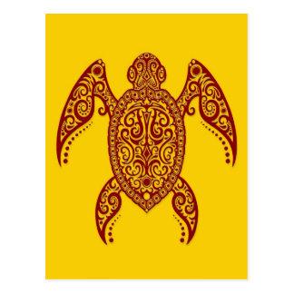 Tortuga de Mar Rojo compleja en amarillo Tarjeta Postal