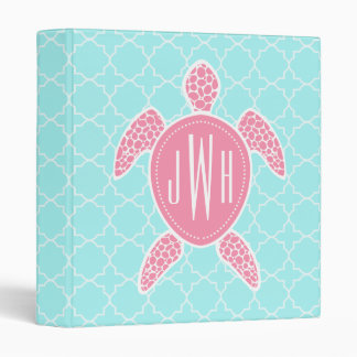 "Tortuga de mar rosada con monograma + Quatrefoil Carpeta 1"""