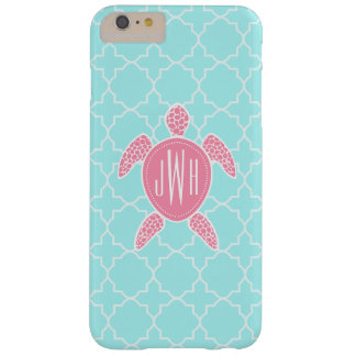 Tortuga de mar rosada con monograma + Quatrefoil Funda De iPhone 6 Plus Barely There