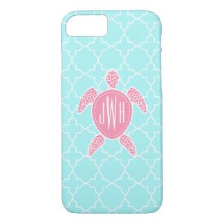 Tortuga de mar rosada con monograma + Quatrefoil Funda iPhone 7