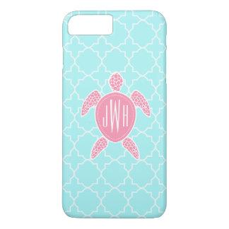Tortuga de mar rosada con monograma + Quatrefoil Funda iPhone 7 Plus