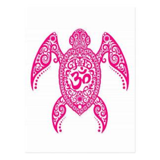 Tortuga de mar rosada de OM en blanco Tarjetas Postales