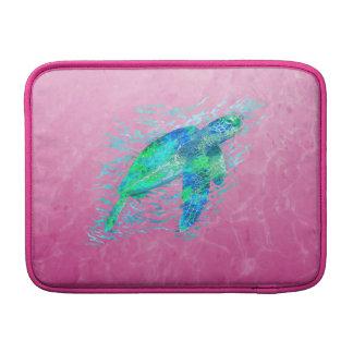 Tortuga de mar rosada fundas macbook air