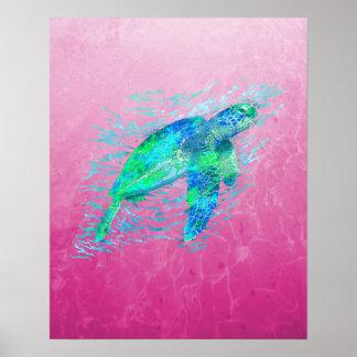 Tortuga de mar rosada póster