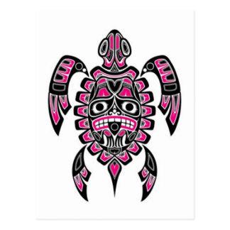Tortuga de mar rosada y negra del alcohol del Haid Tarjeta Postal