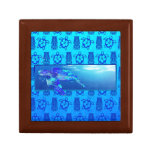 Tortuga de mar subacuática joyero cuadrado pequeño
