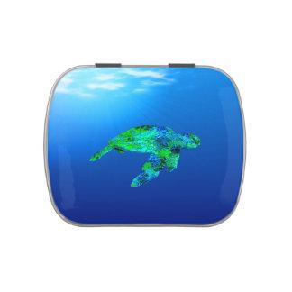 Tortuga de mar subacuática latas de caramelos