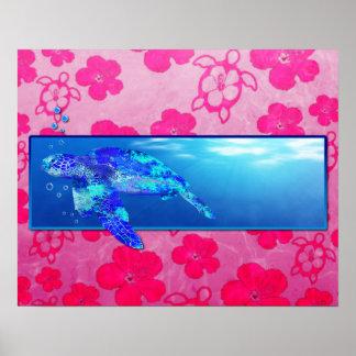 Tortuga de mar subacuática póster