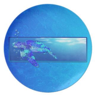 Tortuga de mar subacuática plato para fiesta