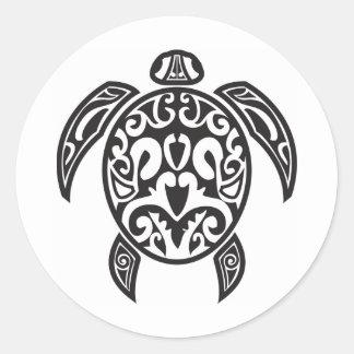 Tortuga de mar tribal pegatinas redondas