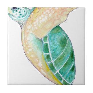 Tortuga de mar verde azulejo cuadrado pequeño