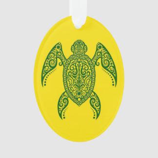 Tortuga de mar verde compleja en amarillo
