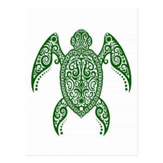 Tortuga de mar verde compleja en blanco postal
