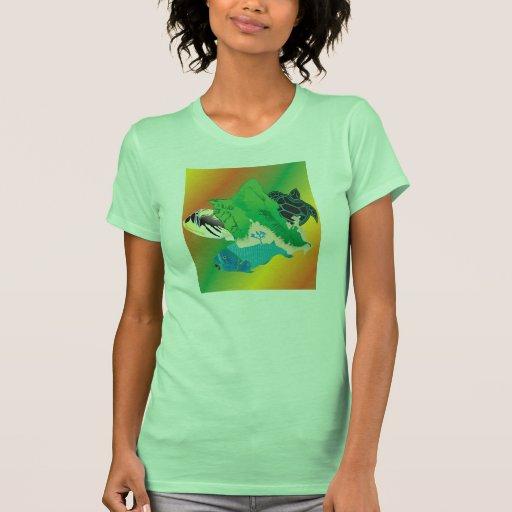 Tortuga de mar verde de Hawaii e isla de Oahu Playera